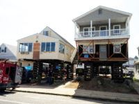 Ocean City, NJ woking with two owners, WA Building Movers raised both houses together.